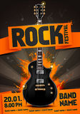 Vector rock festival flyer design template with guitar. Template for poster, fyler and invitation cards with oragmai banner and cool black guitar in the Royalty Free Stock Photos