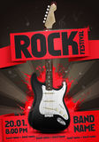Vector rock festival flyer design template with guitar. Template for poster, fyler and invitation cards with oragmai banner and cool black guitar in the Royalty Free Stock Image