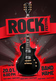 Vector rock festival flyer design template for party. Or concert. With guitar Stock Photos