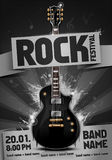 Vector rock festival flyer design template for party. Or concert. With guitar Stock Photography