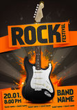 Vector rock festival flyer design template for party. Or concert. With guitar Stock Photo
