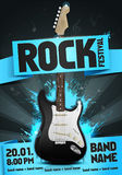 Vector rock festival flyer design template for party. Or concert. With guitar Royalty Free Stock Image