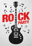 Vector rock festival flyer design template for party. Or concert. With guitar Royalty Free Stock Images