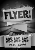 Vector rock festival flyer design template for party. Template for flyer, poster and invitation cards with origami banner and music in the background Stock Photography