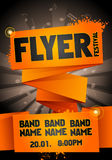 Vector rock festival flyer design template for party. Template for flyer, poster and invitation cards with origami banner and music in the background Royalty Free Stock Photo