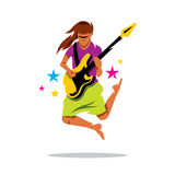 Vector Rock Guitarist Cartoon Illustration. Royalty Free Stock Image