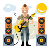 Vector Rock Guitarist. Flat style colorful Cartoon illustration. Royalty Free Stock Image