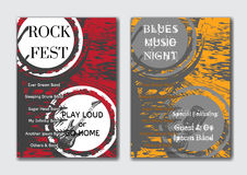 Vector rock, jazz or blues music poster templates set. Royalty Free Stock Photos
