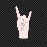 Vector Rock Symbol, Hand Jesture, Colored Illustration on Dark Background. vector illustration