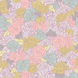 Vector Rockabilly Retro Roses seamless pattern background. vector illustration