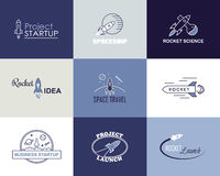 Vector rocket design logo set isolated Royalty Free Stock Photo