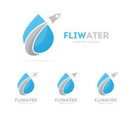 Vector of rocket and drop logo combination. Airplane and aqua symbol or icon. Unique water and oil logotype design Stock Image