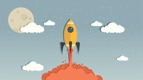 Vector Rocket en el cielo azul fotografía de archivo
