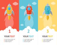 Vector Rocket flat option banners Royalty Free Stock Photography