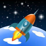 Vector rocket flying into space. Illustration Stock Images