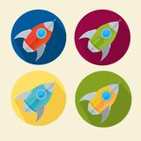 Vector rocket icons set Royalty Free Stock Image