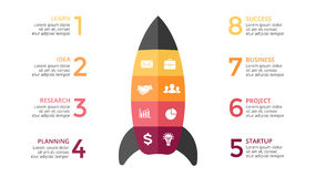 Vector rocket infographic, diagram chart, graph. Business startup concept with 8 options Royalty Free Stock Images