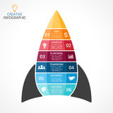 Vector rocket infographic, diagram chart, graph presentation. Business startup concept with 6 options, parts, steps. Circle arrows diagram for graph infographic royalty free illustration