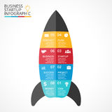 Vector rocket infographic, diagram chart, graph presentation. Business startup concept with 8 options, parts, steps Stock Image