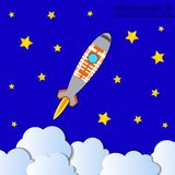 Vector Rocket Launch Background, Starry Sky, Colorful Illustration, Start Up Concept. stock illustration