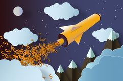 Rocket launch with dollar signs. royalty free stock photos
