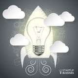 Vector rocket with lightbulb for infographic. Stock Image