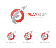 Vector of rocket and play button logo combination. Airplane and record symbol or icon. Unique audio and video logotype Royalty Free Stock Images