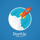 Vector rocket startup concept in flat style Royalty Free Stock Photography