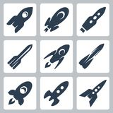 Vector rockets icons set Royalty Free Stock Photo