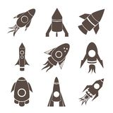 Vector rockets icons set on white background Stock Photography