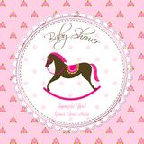 Vector Rocking Horse Baby Card Stock Image