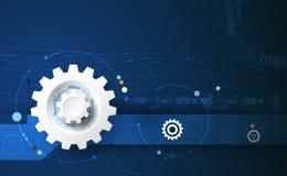 Vector a roda de engrenagem da ilustração e a placa de circuito, tecnologia digital da Olá!-tecnologia e engenharia ilustração do vetor
