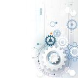 Vector a roda de engrenagem da ilustração, hexágonos, placa de circuito Tecnologia da olá!-tecnologia e fundo abstratos da engenh ilustração do vetor