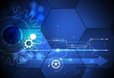 Vector a roda de engrenagem da ilustração, os hexágonos e a placa de circuito, tecnologia digital da Olá!-tecnologia e engenharia Foto de Stock Royalty Free