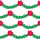 Vector rode de Poinsettiabloemen van de Kerstmisgrens royalty-vrije illustratie