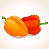 Vector rode en oranje paprika's Royalty-vrije Stock Foto's