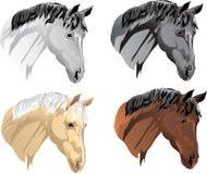 Vector rode hoofden, nachtegalen, kraaien, witte paarden royalty-vrije illustratie