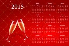 Vector rode kalender 2015 met champagne Stock Foto's