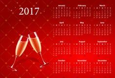 Vector rode kalender 2017 met champagneglazen Stock Afbeelding