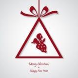 Vector rode Kerstmisachtergrond met engel besnoeiingsdocument ontwerp Royalty-vrije Stock Afbeeldingen