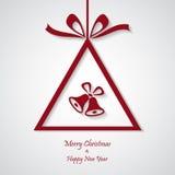 Vector rode Kerstmisachtergrond met klok besnoeiingsdocument ontwerp Royalty-vrije Stock Afbeeldingen