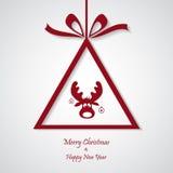 Vector rode Kerstmisachtergrond met rendier besnoeiingsdocument ontwerp Royalty-vrije Stock Foto's
