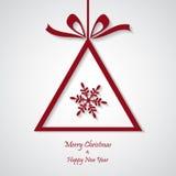 Vector rode Kerstmisachtergrond met sneeuwvlokken besnoeiingsdocument ontwerp Royalty-vrije Stock Afbeelding