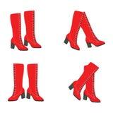 Vector rode laarzen Stock Afbeeldingen