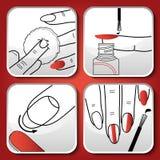 Vector rode manicurepictogrammen Royalty-vrije Stock Afbeelding