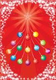 Vector rode prentbriefkaar. Nieuwjaar Vector Illustratie