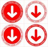 Vector rode prijskaartjes, pijl Royalty-vrije Stock Foto's