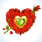 Vector rode Rozen en groen kristal in de vorm van hart met bloempijl royalty-vrije illustratie