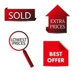 Vector rode verkoopmarkeringen Stock Afbeelding
