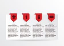 Vector rode vooruitgangskaart met gouden linttekens en eenvoudig Web i Royalty-vrije Stock Foto